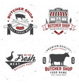 set butcher shop badge or label with cow pig vector image