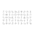 Set Flat Line Icons Vegetables and Fruit vector image
