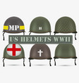 Set of Military US helmets M1 WWII vector image vector image