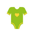 short sleeves legless green romper yellow heart vector image