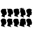 silhouette man heads in profile black face vector image