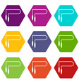 skipping rope icon set color hexahedron vector image vector image