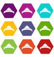 small princess crown icons set 9 vector image vector image