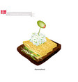smorrebrod with omelet the national dish of denma vector image vector image