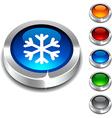 Snowflake 3d button vector image vector image