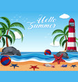 summer background with lighthouse on the island vector image vector image