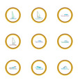 types of sea boat icons set cartoon style vector image vector image