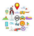 urban transport icons set cartoon style vector image vector image