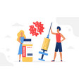 vaccination campaign people standing with vaccine vector image vector image