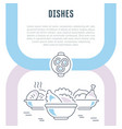 website banner and landing page dishes vector image