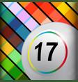white bingo lottery ball on multi colours vector image vector image