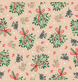 winter seamless pattern with mistletoe bunches vector image