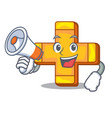 with megaphone character line draw symbol plus vector image vector image