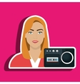 woman voice recorder news vector image