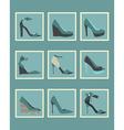 Blue fashionable women high heels shoes icons set vector image