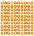 100 database and cloud icons set orange vector image vector image