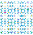 100 mobile icons set cartoon style vector image vector image