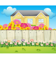 A house surrounded with colorful flowers vector image vector image
