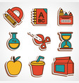 a set of colored school icons vector image vector image