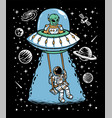 astronaut and alien playing together vector image vector image