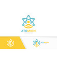 atom and wifi logo combination molecule vector image vector image