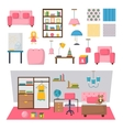 Baby kids room interior set vector image