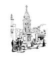 black and white drawing travel card from Rome vector image vector image