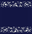 blue background with stripes of silver leaves vector image
