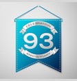 blue pennant with inscription ninety three years vector image vector image