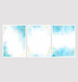 blue watercolor wash splash with golden frame 5x7 vector image vector image