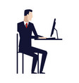 business man entrepreneur in a suit working on a vector image vector image