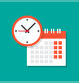 calendar and clock icon vector image vector image