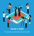 celebrity show isometric background vector image vector image