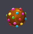 chocolate round candy pops sprinkle candy bomb vector image vector image