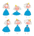 Cute Little Princess Girls in Poses Collection for vector image vector image