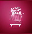 cyber monday sale shopping cart icon isolated vector image