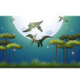 Dinosaurs flying on fullmoon night vector image vector image