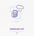 download app on smartphone from cloud concept vector image vector image