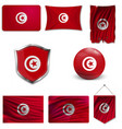 flag tunisia over white background vector image vector image