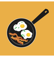 flat of pan with sunny side up eggs and fried vector image