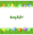 frame of easter eggs and green grass vector image vector image