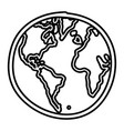 hand drawn monochrome contour of world map vector image vector image