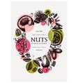 hand drawn nut wreath design with pecan macadamia vector image vector image