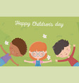 Happy childrens day girl and boys resting in the