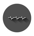heartbeat line with heart icon in flat style vector image