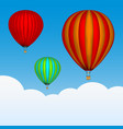 hot air balloons in sky background vector image vector image