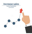 increase sales diagram up businessman raises hand vector image