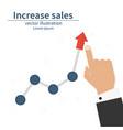 increase sales diagram up businessman raises hand vector image vector image