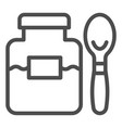 jam jar and spoon line icon fruit jam vector image vector image