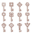 keys icon silhouettes and locks old vector image